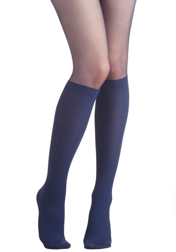 Color Your Chic Tights in Midnight - Blue, Solid, Better, Variation, Sheer, Knit, 90s, Boho, Urban, Scholastic/Collegiate, Nifty Nerd