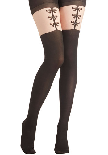 Sassy Sophisticate Tights - Sheer, Woven, Black, Bows, Better, Vintage Inspired, Gifts Sale