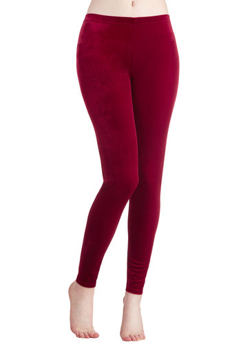 City Adventure Crushed Velvet Leggings in Red - Red, Solid, Holiday Party, Skinny, Good, Variation, Winter, Basic, Vintage Inspired, 90s, Knit, Low-Rise, Full length, Red