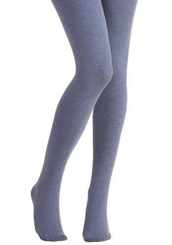 Truly Trustworthy Tights in Denim Blue - Knit, Blue, Solid, Casual, Fall, Winter, Better, Variation, Basic