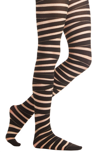 Riff You Please Tights - Sheer, Knit, Black, Tan / Cream, Stripes, Halloween, Better