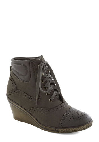 Enthrall I Need Bootie - Grey, Solid, Better, Platform, Wedge, Lace Up, Mid, Faux Leather