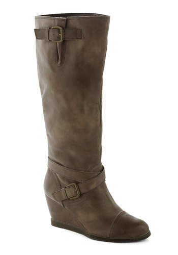 Goal-oriented Gal Boot in Grey by Chelsea Crew - Mid, Leather, Grey, Solid, Buckles, Better, Wedge, Variation