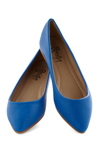 Defined the Scenes Flat in Royal Blue - Blue, Solid, Casual, Flat, Good, Faux Leather, Work, Minimal, Variation, Basic