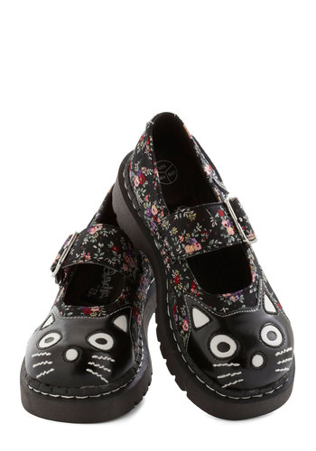 Here and Meow Shoe in Floral - Faux Leather, Low, Black, Multi, Floral, Cats, Better, Mary Jane, Print with Animals, Casual, Vintage Inspired, 90s