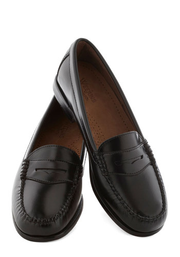 Loafer and Over Flat in Black by Bass - Low, Leather, Black, Solid, Menswear Inspired, Work, Scholastic/Collegiate, Variation