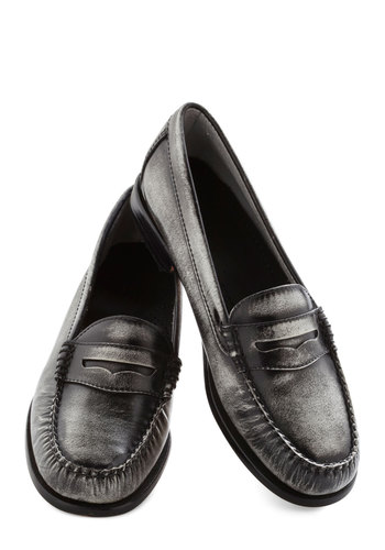 Loafer and Over Flat in Steel - Low, Leather, Silver, Solid, Menswear Inspired, Casual, Variation