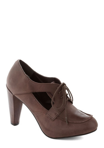 Cocoa Your Own Way Heel - High, Leather, Brown, Solid, Cutout, Work, Better, Lace Up, Vintage Inspired, 40s, Gifts Sale