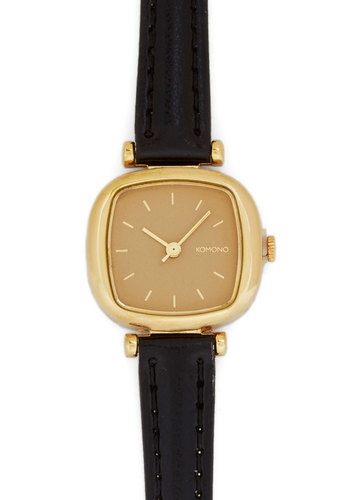 Time After Timezone Watch - Leather, Black, Solid, Gold, Better, Work, Graduation