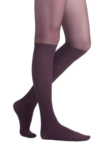 Color Your Chic Tights in Eggplant - Purple, Solid, Better, Variation, Sheer, Knit, Boudoir