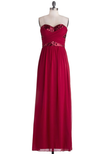 Receiving Line Dress in Red - Red, Solid, Sequins, Formal, Prom, Maxi, Strapless, Better, Sweetheart, Long, Woven, Variation, Party