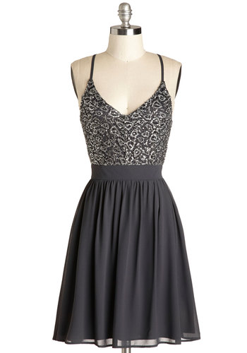 Wait and Sequin Dress - Black, Silver, Embroidery, Sequins, Formal, A-line, Spaghetti Straps, Good, V Neck, Mid-length, Chiffon, Woven, Cocktail, Cutout, Exposed zipper, Party