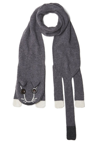 Cozy Critter Scarf - Grey, Black, White, Print with Animals, International Designer, Knit, Cats, Buttons, Casual, Quirky, Winter