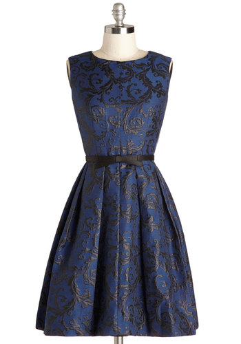 Intricate Elegance Dress - Woven, Mid-length, Blue, Black, Print, Bows, Pleats, Pockets, Cocktail, Fit & Flare, Sleeveless, Best, Holiday Party