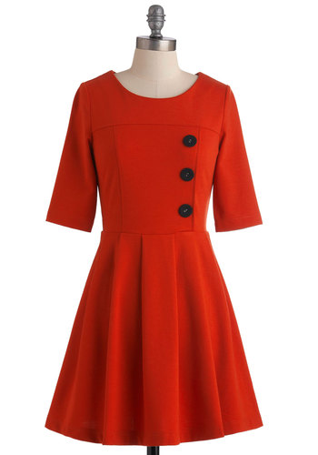 Either Orange Dress in Tangerine - Mid-length, Orange, Solid, Buttons, Work, 3/4 Sleeve, Fit & Flare, Vintage Inspired, Cotton, Fall, Winter