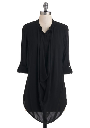 The Drape Pretender Top - Black, Solid, Buttons, 3/4 Sleeve, Casual, Minimal, Mid-length, Travel, Woven, Black, Tab Sleeve