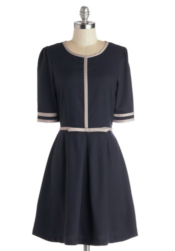 Erynn's Flair for the Classics Dress by Dear Creatures - Blue, Grey, Trim, Casual, A-line, Short Sleeves, Woven, Mid-length, Bows, Better, Vintage Inspired, Winter, Work