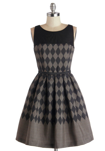 Promoting Elegance Dress in Diamonds - Sheer, Knit, Woven, Mid-length, Black, Silver, Print, Cutout, Exposed zipper, Pleats, Party, Fit & Flare, Sleeveless, Best, Scoop, Cocktail