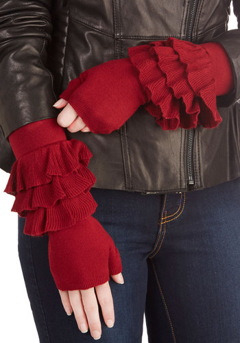 Rock and Role Glovettes by Effie's Heart - Red, Solid, Ruffles, Better, Knit, Fall, Winter