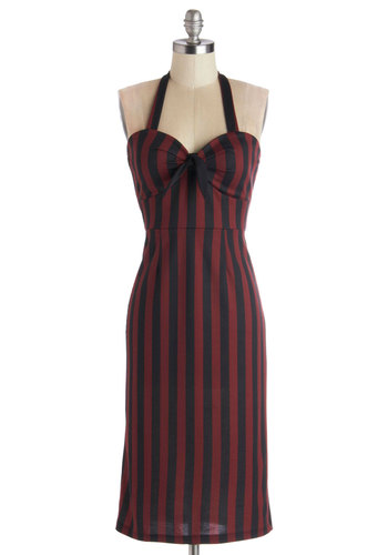 Emcee and Be Seen Dress - Long, Knit, Red, Black, Stripes, Party, Sheath / Shift, Halter, Better, Sweetheart, Bows, Girls Night Out, Pinup, Vintage Inspired, 40s, 50s, 60s