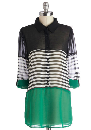 Apartment Tour Top in Green - Black, White, Solid, Stripes, Buttons, Long Sleeve, Good, Chiffon, Sheer, Woven, Multi, Green, Casual, Colorblocking, Variation, Collared, Green, Tab Sleeve, Long