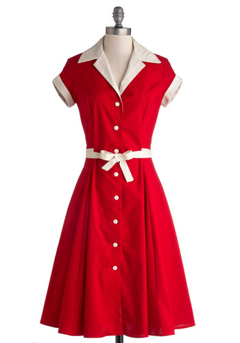 Comedy Hour Dress in Solid Red - Long, Cotton, Woven, Red, White, Buttons, Belted, Casual, Shirt Dress, Short Sleeves, Better, Trim, Vintage Inspired, 50s, Variation, Collared