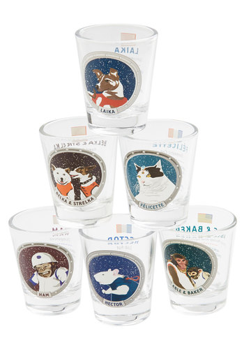 One Small Sip Shot Glass Set - Multi, Quirky, Nifty Nerd, Good, Print with Animals, Cats, Guys, Critters