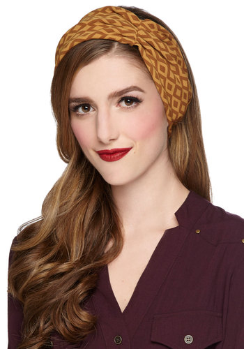According to Folklore Headband - Woven, Print, Better, Yellow, Brown