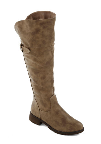 Toffee for Two Boot in Latte - Low, Faux Leather, Brown, Buckles, Over the Knee, Solid, Good, Fall, Variation