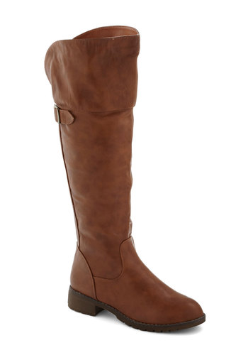 Toffee for Two Boot in Caramel - Low, Faux Leather, Brown, Solid, Buckles, Safari, Minimal, Good, Over the Knee, Fall, Variation