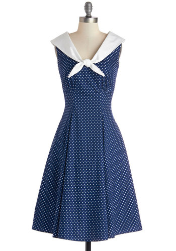 Cute Clipper Dress - Long, Nautical, Rockabilly, Vintage Inspired, 40s, 50s, Blue, White, Polka Dots, A-line, Sleeveless, Spring, Tie Neck, Cotton, Fit & Flare, Pinup, Gifts Sale, Social Placements