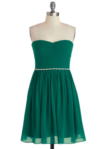 Swift and Shirr Dress - Green, Solid, Pearls, Rhinestones, A-line, Strapless, Better, Sweetheart, Prom, Woven, Cocktail, Holiday Party, Chiffon, Mid-length