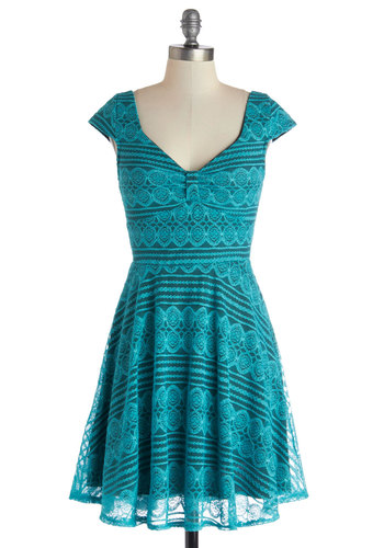 Alluring Ambition Dress - Green, Solid, Lace, Party, A-line, Cap Sleeves, Good, V Neck, Mid-length, Woven