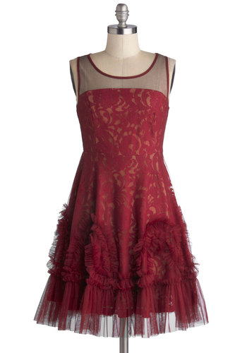 Raspberry Truffle Dress by Ryu - Red, Tan / Cream, Solid, Lace, Ruffles, Special Occasion, Prom, A-line, Sleeveless, Better, Scoop, Sheer, Knit, Mid-length, Holiday Party