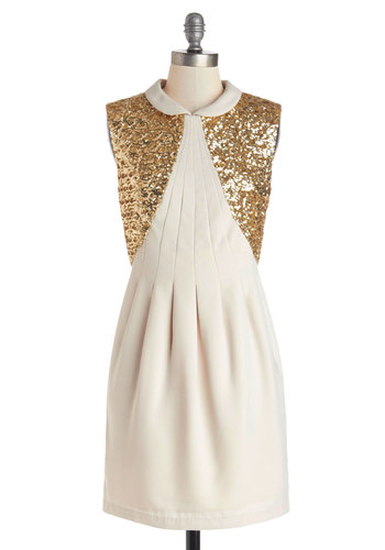 Pizzazz a Matter of Fact Dress - Cream, Gold, Solid, Peter Pan Collar, Sequins, Party, Holiday Party, Shift, Sleeveless, Better, Collared, Short, Woven, Pleats
