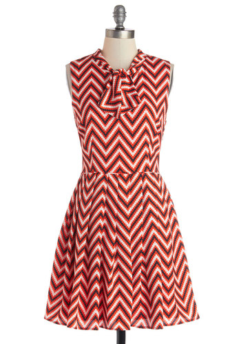 I Can Zig It Dress - Red, Black, White, Chevron, Tie Neck, Work, A-line, Sleeveless, Better, Exclusives, 60s, Woven, Mid-length, Vintage Inspired