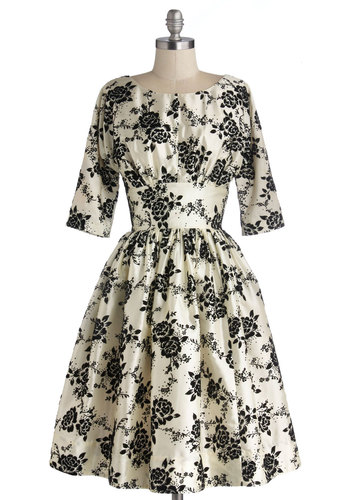 Posh at the Party Dress in Ivory - Floral, Cocktail, Holiday Party, Vintage Inspired, 50s, Fit & Flare, 3/4 Sleeve, Exclusives, Cream, Black, Woven, Long, Pockets