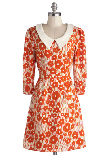 Sunrise in the Studio Dress by Bea & Dot - Private Label, Orange, White, Floral, Peter Pan Collar, Casual, Shift, 3/4 Sleeve, Better, Collared, Woven, Vintage Inspired, 60s, Mod, Exclusives, Top Rated, Halloween, Mid-length