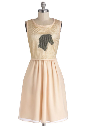 Best Horse of Action Dress by Knitted Dove - Cream, Black, Gold, Print with Animals, Pockets, Party, A-line, Sleeveless, Better, Scoop, Holiday Party, Woven, Mid-length