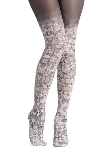 Face the Fashion Tights - White, Quirky, Best, International Designer, Sheer, Knit, Black, Novelty Print