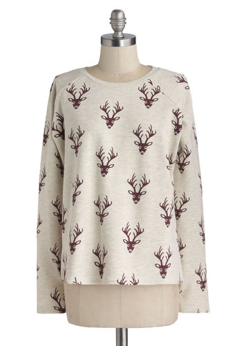 I'm Going Stag Sweater by Sugarhill Boutique - Mid-length, Cotton, Knit, Grey, Red, Long Sleeve, Crew, Print with Animals, Casual, Rustic, Folk Art, Holiday, White, Long Sleeve