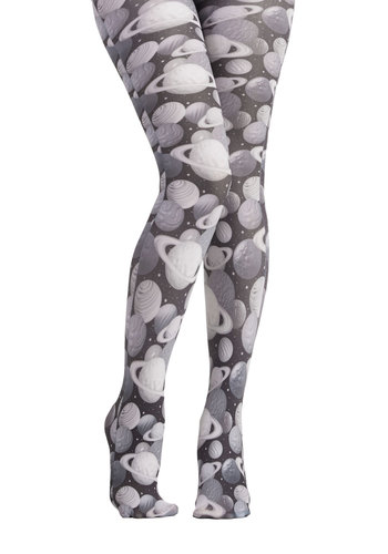 Planetary Fairy Tights - Sheer, Knit, Black, White, Cosmic, Better, Novelty Print, Sci-fi, Nifty Nerd, Quirky