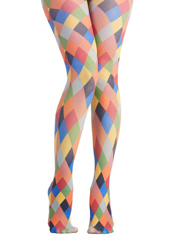 Pinball Wisdom Tights - Knit, Multi, Better, Sheer, Print, 90s