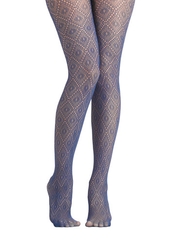 Go Fig-ure Tights in Blue - Sheer, Knit, Blue, Solid, Holiday Party, Better, Variation, Cocktail