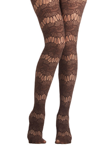 Golden Age Garden Party Tights - Sheer, Knit, Brown, Solid, Lace, Special Occasion, Holiday Party, Better