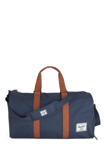 Away with Words Weekend Bag in Solid Navy by Herschel Supply Co. - Blue, Tan / Cream, Solid, Travel, Better, Faux Leather, Casual, Woven, Variation