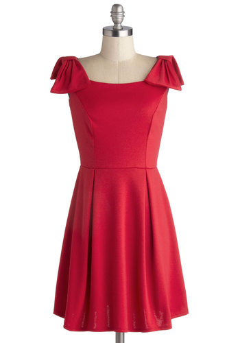 Heartfelt Hello Dress - Short, Knit, Red, Solid, Bows, Pleats, Party, A-line, Sleeveless, Good, Holiday Party, Valentine's