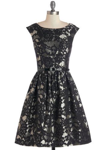 Wowed and Wonderful Dress - Mid-length, Woven, Black, Silver, Floral, Belted, Cocktail, Fit & Flare, Sleeveless, Best, Party, Holiday Party, Vintage Inspired, 50s, Boat