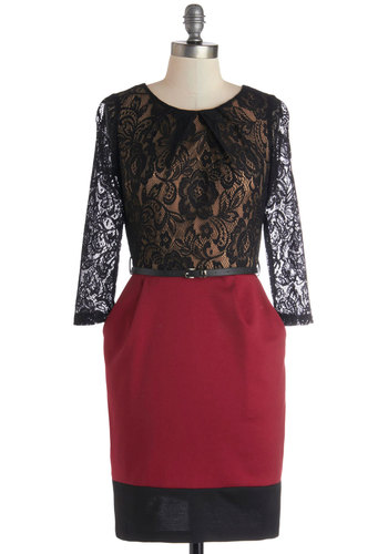 Dancing After Dusk Dress - Mid-length, Knit, Woven, Sheer, Red, Black, Lace, Pockets, Belted, Cocktail, Sheath / Shift, 3/4 Sleeve, Good, Scoop, Party, Twofer, Holiday Party