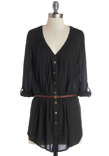 Shirt and Sweet Tunic in Black Currant - Woven, Mid-length, Black, Solid, Buttons, Pleats, Belted, Boho, Better, V Neck, Casual, 3/4 Sleeve, Variation, Black, Tab Sleeve